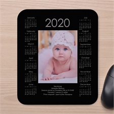 Custom Print Portrait Calendar, Black Mouse Pad