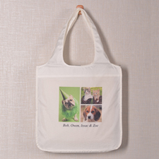 Personalised 3 Collage Folded Shopper Bag, Modern