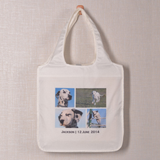Personalised 4 Collage Folded Shopper Bag, Contemporary