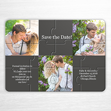 Tie The Knot Invitation Puzzle, 3 Photo Collage Grey
