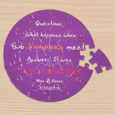 Background Colour & Text Small Round Puzzles
