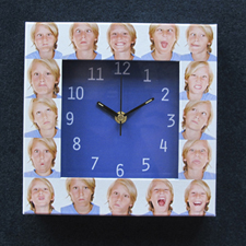 16 Collage Blue Face Personalised Clock
