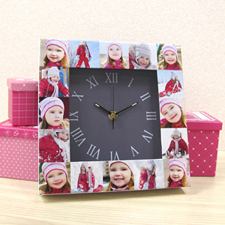 16 Collage Grey Large Face Personalised Clock