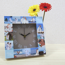 16 Collage Gold Face Personalised Clock