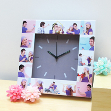 16 Collage Grey Face Personalised Clock