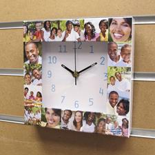 16 Collage Aqua Numbers Personalised Clock