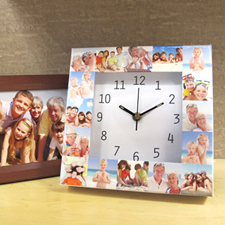 16 Collage White Large Face Photo Personalised Clock