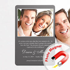 Personalised Grey Wedding Announcement Photo Fridge Magnets