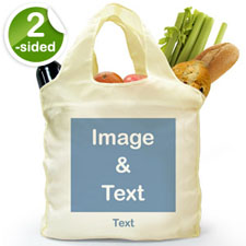 Personalised Both Sides Folded Shopper Bag, Square Image