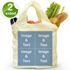 Personalised Both Sides 4 Collage Folded Shopper Bag, Classic