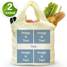 Custom Front And Back 4 Collage Folded Shopper Bag, Snapshots