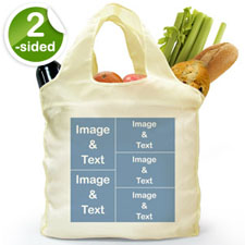 customise 2 Sides 5 Collage Folded Shopper Bag, Elegant