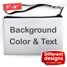 Personalised Background Colour & Text (2 Side Different Image) Wristlet Bag (Medium Inch)