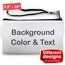 Personalised Background Colour & Text(2 Side Different Image) Clutch Bag 5.5