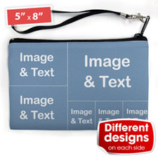 Personalised Facebook 6 Collage (2 Side Different Image) Wristlet Bag (Medium Inch)