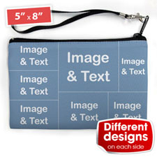 Personalised Facebook 7 Collage (2 Side Different Image) Wristlet Bag (Medium Inch)