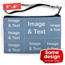 Personalised Facebook 7 Collage (2 Side Same Image) Wristlet Bag (Medium Inch)
