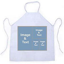 Four Collage Silver Grey Personalised Adult Apron