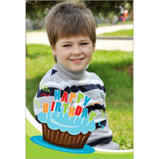 Personalised Cool Cupcake Blue Lenticular Greeting Card