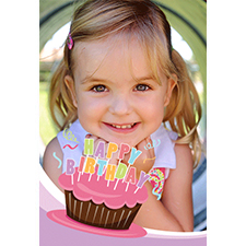 Personalised Cool Cupcake Pink Lenticular Greeting Card
