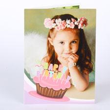 Custom Printed Cool Cupcake Pink Birthday Greeting Card