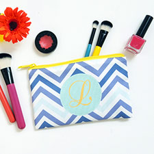 Blue Chevron Personalised Cosmetic Bag 4
