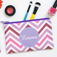 Purple Chevron Personalised Cosmetic Bag 6