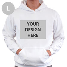 Personalised Custom Full Front No Zipper White Large Size Hoodie Sweatshirt