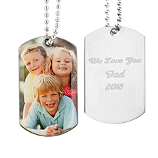 Custom Photo Engrave Message Dog Tag Pendant