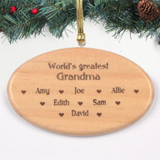 Personalised Engraved Greatest Grandma Wood Ornament