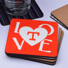 Love Personalised Cork Coaster