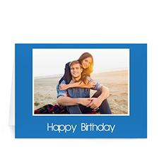Custom Classic Blue Photo Birthday Cards, 5