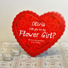 Flower Girl Personalised Heart Shape Puzzle