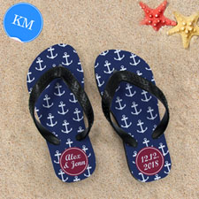 Design My Own Blue White Anchors Red Monogrammed Kids Medium Flip Flops