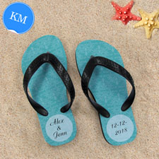 Design My Own Aqua Damask Personalised Flip Flops, Kid Medium Flip Flops