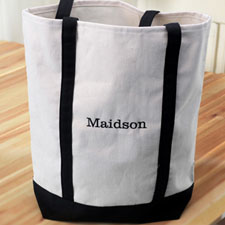 Personalised Black Embroidered Tote (Medium) Bag