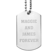 Forever Personalised Message Engraved Dog Tag Pendant
