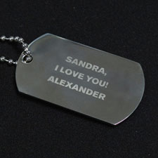 Personalised Message Engraved Dog Tag Pendant