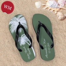 Create My Own Personalised Wedding Palm Tree Women Medium Flip Flop Sandals