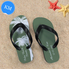 Design My Own Personalised Wedding Palm Tree Kids Medium Flip Flops