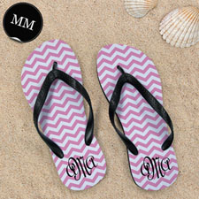 Design My Own Pink Chevron Pattern With Personalised Name, Men Medium Flip Flop Sandals