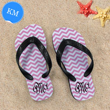Design My Own Pink Chevron Pattern With Personalised Name ,Kid's Medium Flip Flops