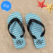 Design My Own Aqua Chevron Pattern With Personalised Name, Kid's Medium Flip Flops