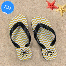 Design My Own Customizable Yellow Chevron Strip, Kid's Medium Flip Flops