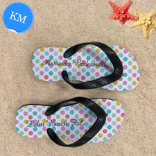Design My Own Modern Dots With Custom Name, Kids' Medium Flip Flops