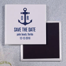 Ship's Anchor Nautical Wedding Square Photo Magnet