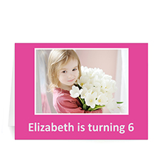 Custom Hot Pink Photo Birthday Cards, 5