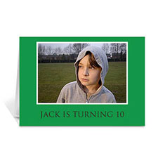 Custom Classic Green Photo Birthday Cards, 5