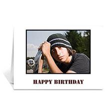 Custom Classic White Photo Birthday Cards, 5