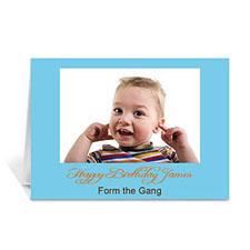 Custom Baby Blue Photo Birthday Cards, 5